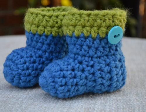 BLUE CROCHET NEWBORN BABY BOOTS